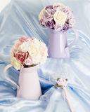 Silk flowers display Royalty Free Stock Photos