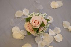 The silk flowers set in the centerpiece royalty free stock photo