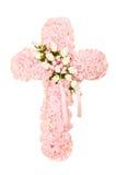 Silk funeral floral arrangement. In shape of cross Stock Photo