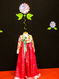 Silk Gown at the Festival of the Orient in Rome Italy. The Festival of the Orient was held at the Exhibition Centre near Rome Airport at Fumincino on the Stock Photo