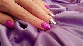 Silk hand hand manicure slow motion elegance, fingernail. Silk hand hand manicure slow motion elegance fingernail stock video
