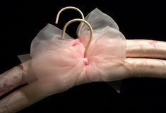 Silk Hangers. A pair of fancy pink silk clothes hangers Stock Image