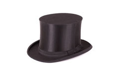 Silk hat. Black silk hat isolated on a white background Royalty Free Stock Photography