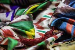 Silk ikat fabric. Draped uzbeki silk ikat fabric stock images