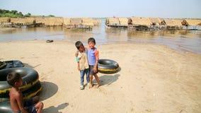 SILK ISLAND,CAMBODIA - MARCH 2014: local kids posing stock video