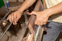 Silk making cambodia Royalty Free Stock Photo
