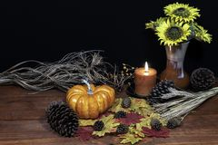Silk maple leaves, beautiful bouquet of sunflowers, frosted pine cones and orange candle on tabletop with dark background. stock photography