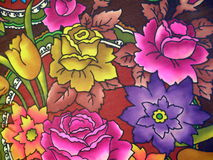 Silk mit Blumengewebe Stockbild