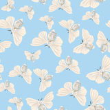Silk moth almond seamless vector pattern Royalty Free Stock Photography