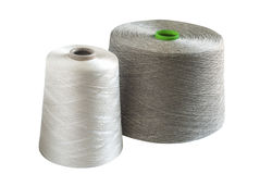 Silk and natural linen yarn bobbins Royalty Free Stock Image