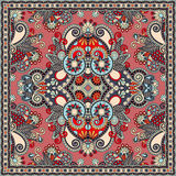 Silk neck scarf or kerchief square pattern design in ukrainian s Royalty Free Stock Photos