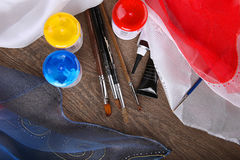 Silk painting supplies for hobby Stock Images