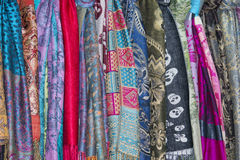Silk pashmina on display sand for sale Royalty Free Stock Photos