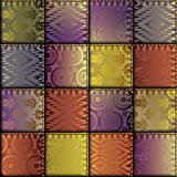 Silk patchwork with relief stitches Royalty Free Stock Image