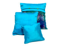 Silk pillows and pillows cases Stock Photography