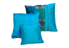 Silk pillows and pillows cases. On white background Royalty Free Stock Photos