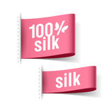 100% silk product. Clothing labels Stock Images