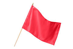 Silk red flag. Isolated on white background Stock Photos