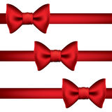 Silk red ribbon with a bow Royalty Free Stock Photo
