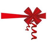 Silk red ribbon and bow wrapping decorative. Illustration Royalty Free Stock Photos