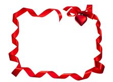 Silk red ribbon frame Royalty Free Stock Photos