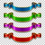 Silk ribbons set. Set of silk ribbons in different colors on transparent background. Vector illustration Stock Photo