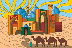 Silk Road. Bright and colorful illustration of the Silk Road