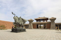 The silk road city of sunlight. China's dunhuang museum a site of the ancient silk road, the sunlight statues zhang qian to the western regions Royalty Free Stock Image