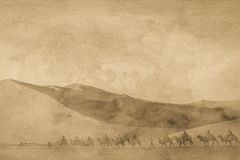 The silk road image. The antique silk road image with grain Stock Photos