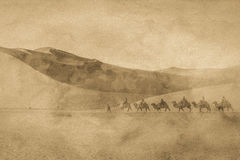 The silk road image. The antique silk road image with grain Stock Images