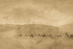 The silk road image. The antique silk road image with grain Royalty Free Stock Images