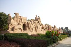 Silk road monument. Zero kilometer of silk road monument in xi'an Stock Photos