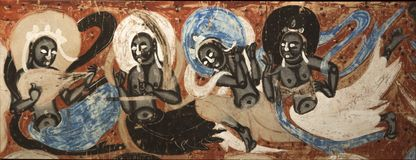 Mural of Mogao Grottoes in Dunhuang, China. Silk Road Religion Monk Mural Dunhuang Mogao Grottoes stock photography