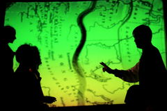 The Silk Route map with shadows. A performance held in Bucharest, Romania, by actors and Wushu champions. The play was a reenactment  of the Silk Road, the 4,000 Stock Photography
