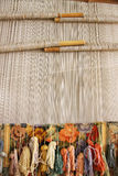 Silk Rug Weaving. On a hand loom in China Royalty Free Stock Images