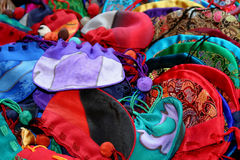Silk Sacks. Colorful silk sack with drawstring closures royalty free stock photography