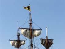 Silk sails-05. The ancient (1703) sailing ship stock images