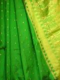 Silk Sari. Closeup of a silk sari with a beautiful artistic border Royalty Free Stock Images