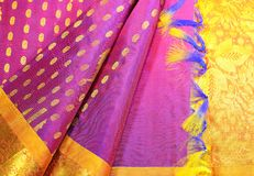 Silk Sari. Women traditional Indian Silk Sari. Women wear during indian festivals like Diwali and ceremonies Royalty Free Stock Photography