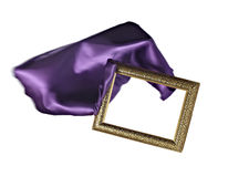 Silk satin fabric texture background wooden frame Stock Images