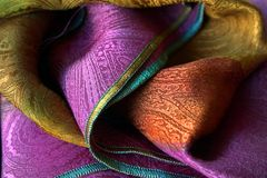 Silk scarf. Closeup of silk scarf Royalty Free Stock Images