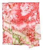 Silk scarf with abstract pink and green ornament Stock Photos