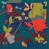 Silk scarf with blooming poppies stock illustration