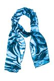 Silk scarf. Blue silk scarf isolated on white background royalty free stock image