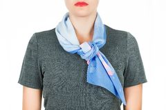 Silk scarf. Blue silk scarf around her neck isolated on white background. Stock Images