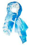 Silk scarf. Blue silk scarf isolated on white background stock photos