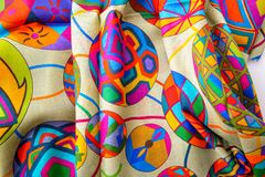 Silk scarf fabric closeup Stock Photo