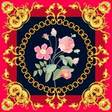 Silk scarf with floral motifs. vector illustration