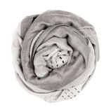 Silk scarf.  Gray silk scarf isolated on white background Royalty Free Stock Images