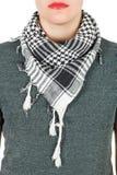 Silk scarf. Grey silk scarf around her neck  on white background. Stock Photos